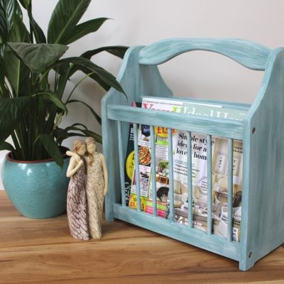 Magazine rack makeover with chalk paint