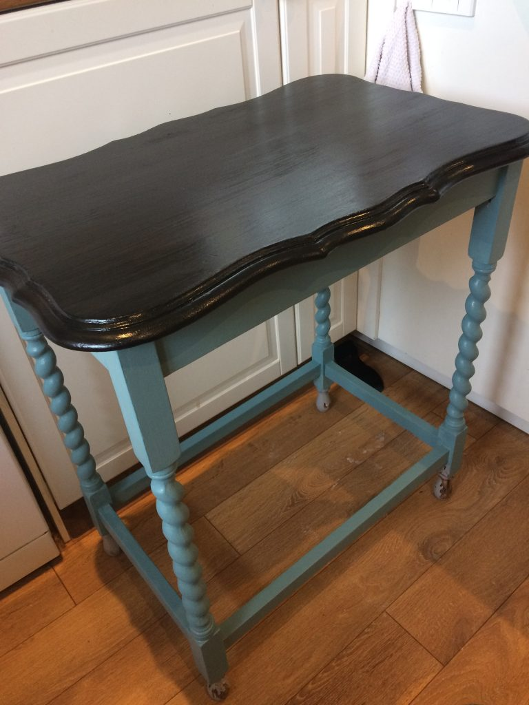 Turqouise table with gorgeous wooden top