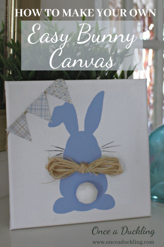 Are you ready to invite Spring into your home? Get ready for Spring and Easter with this very quick and easy Bunny Canvas project. Kids will love to get involved and you can make a whole row of bunnies in different colours in no time at all. How cute does this little Bunny Butt DIY canvas look just sitting on a shelf? And it's budget friendly - make your home look gorgeous for not a lot of money.