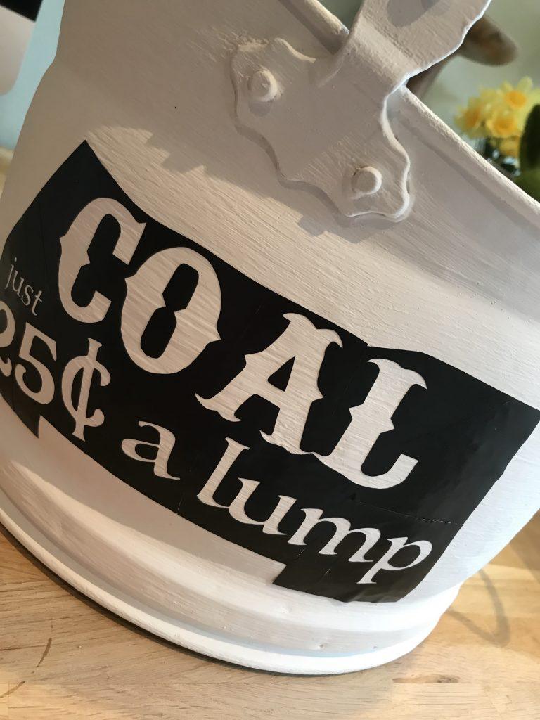 Chalk paint coal bucket planter
