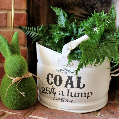 Chalk paint Coal bucket planter makeover