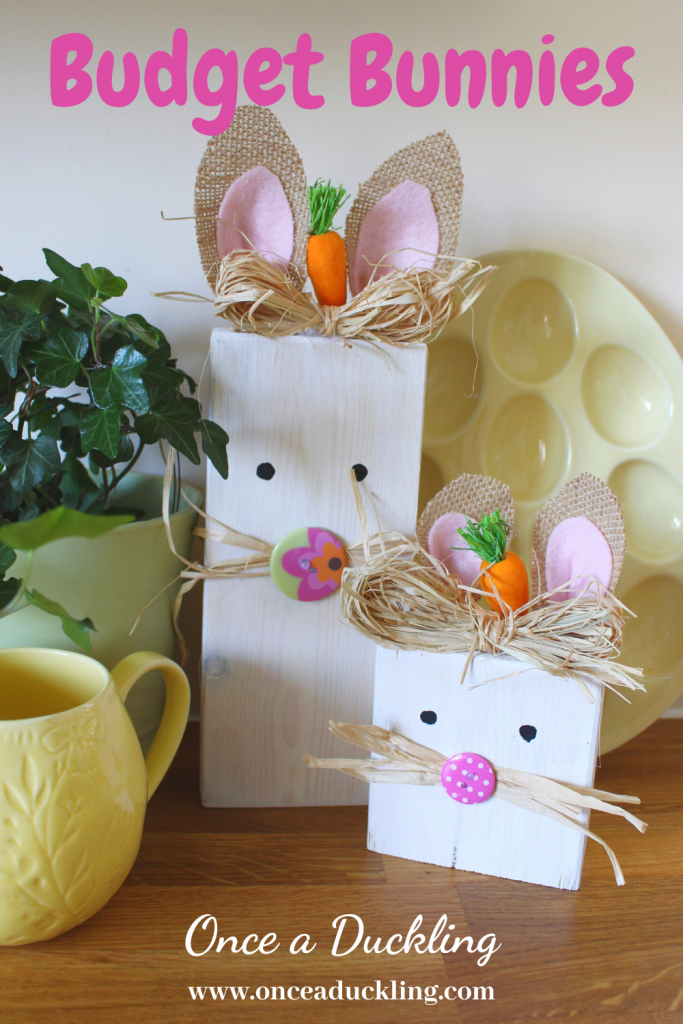 I love Easter time. And I love creating things for your home on a budget! And these Budget Bunnies made from scrap wood tick all the boxes! You don't have to spend a lot of money to create this super cute pair of bunnies for your home. Created in less than half an hour, this project is a great way to use up some scrap wood you've already got on hand.