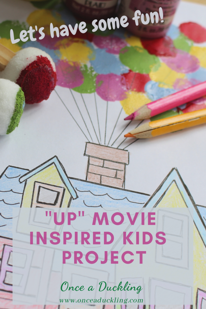 """Kids (and adults) love the movie """"UP""""! Especially the moment that the house is lifted up high in the sky by hundreds of colourful balloons! And this project ticks all the boxes - it's fun, it's colourful and you get to colour and paint! The post includes a free printable. Combined with watching the film, this fun and easy project will mean a good couple of hours to keep the kids entertained."""