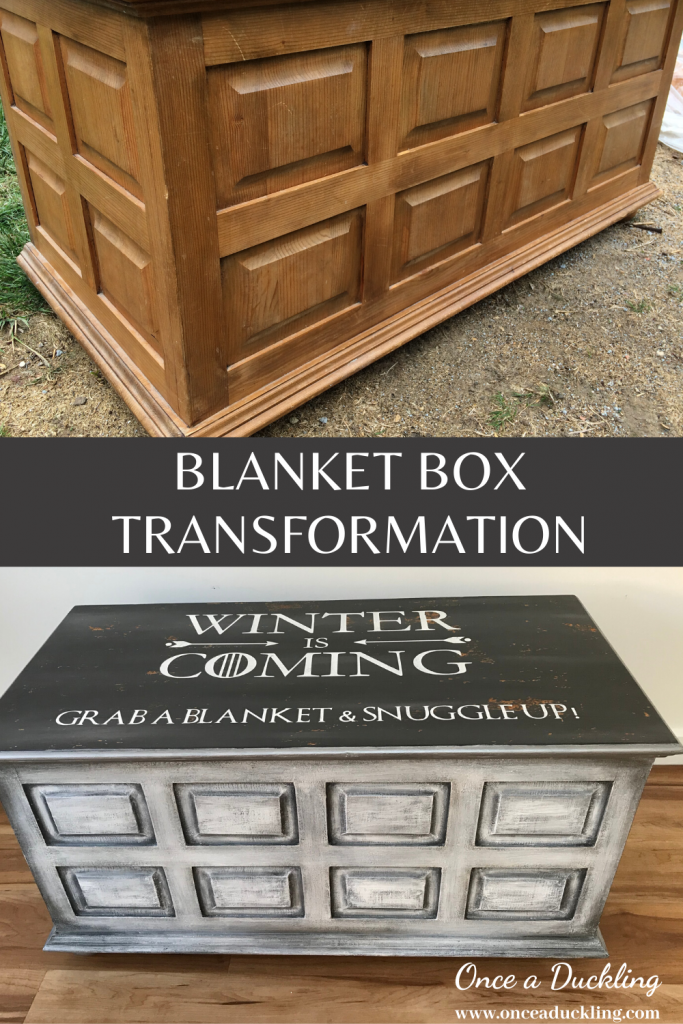 """This blanket box was just the perfect make-over project!  We needed some storage for some throws and blankets and what phrase could be better than the Game of Thrones """"Winter is coming""""?  Check out the before and after of this painted blanket box make-over idea!"""