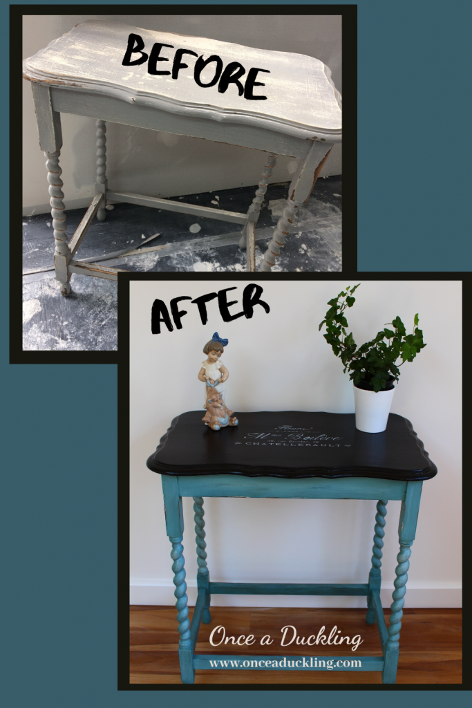 This old antique style quirky side table was in dire need of a make-over! Looking at the before and after you would not think this was the same piece of furniture. There's nothing like a bit of a challenge to strip down old paint to get back to basics. But I love how it's come together. And in my favourite colour too. Doesn't aqua / turquoise just remind you so much of a holiday?