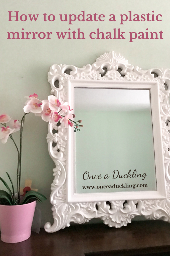 Chalk paint is so versatile! Apart from using it on your usual make-over projects such as furniture, it covers most materials. Like this plastic mirror, which to be honest with you, was looking a bit cheap and nasty! Bring on the chalk paint! Check out the before and after pics!