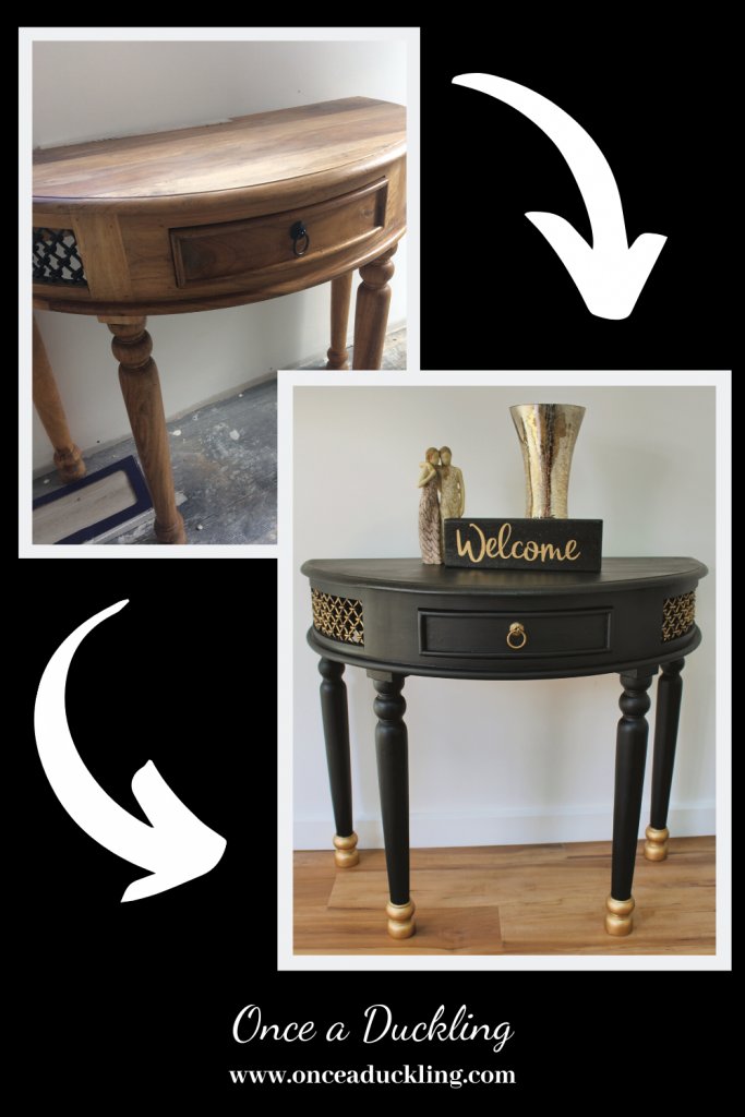 It's amazing what a bit of paint can do to a piece of furniture. I mean, there was nothing wrong with this side table, but it was looking a bit dated. OK, a lot dated! Fortunately, nothing that a bit of chalk paint and gold paint couldn't fix. And of course a can of glitter spray for the top. And boom! A modern side table that will look great in any home.