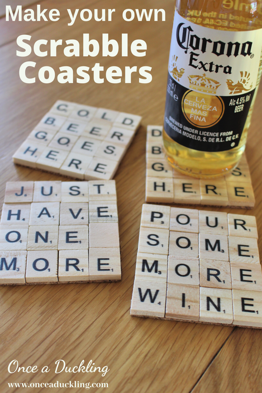 These cute little Scrabble Coasters are a perfect quick DIY craft project for a Father's Day present.  Or of course you can create other words to if you're choosing another theme for your coasters.  How great will these look on a garden table to hold your summer drink?  Check out how to make your own.