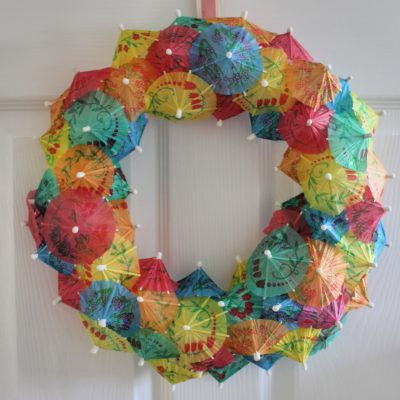 Colourful Cocktail Umbrella Wreath