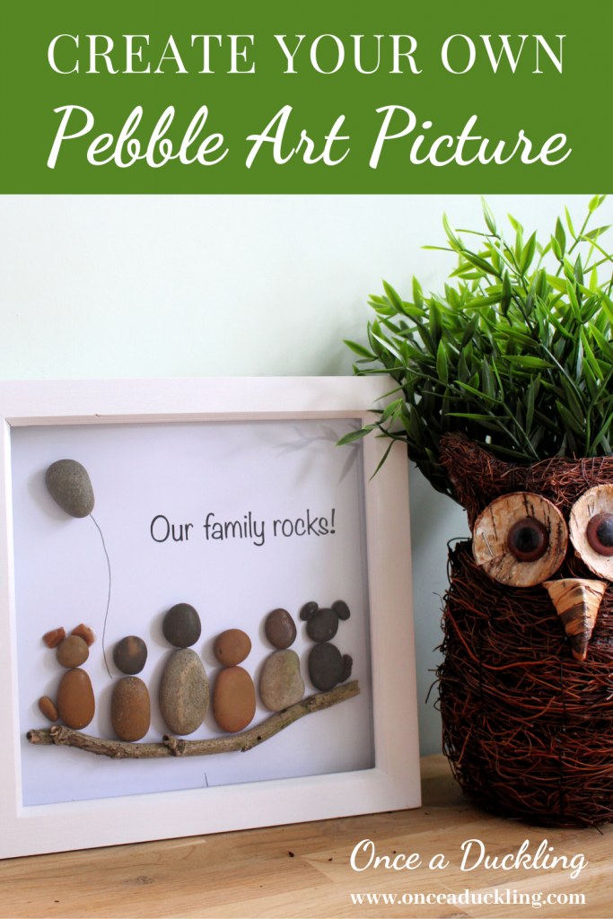 "Ever seen an idea and know you can totally make this yourself?  Well, this pebble art ""our family rocks"" picture was one of them.  A simple DIY project for your home.  And on a budget too!  Check out the ""how to"" on creating your own rock picture in no time."