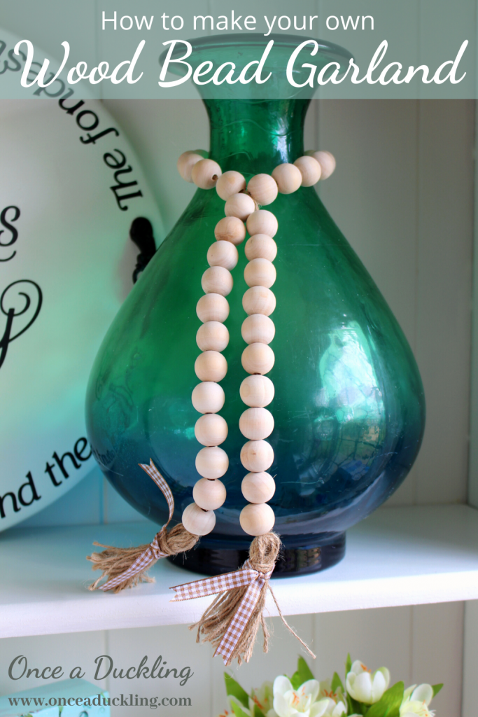 Farmhouse Style Wood Bead Garland Once A Duckling