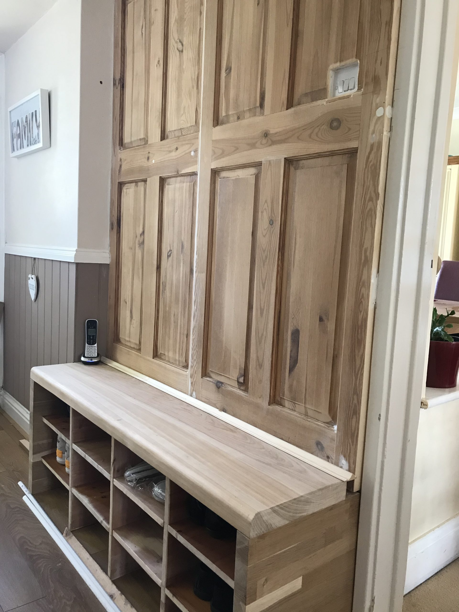 Upcycled old doors turned into hall seat bench