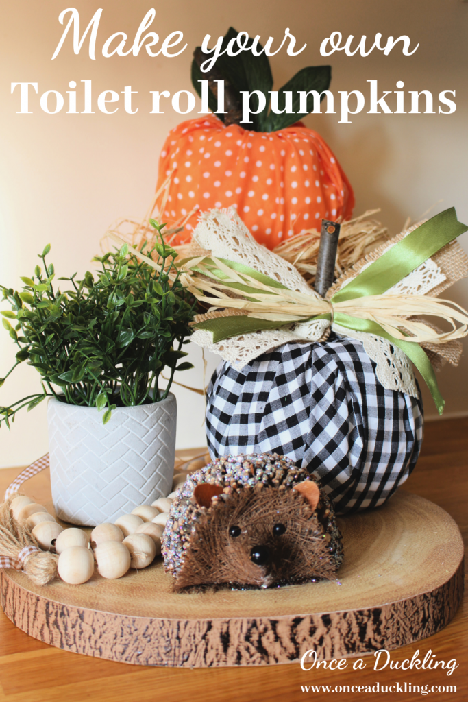 Pumpkins are not just for Halloween!  Or for pumpkin pie recipes!  They are such fun to have as part of your autumn decor.  Can't find any white or orange pumpkins in the shops?  No problem!  You can make your own.  These budget DIY toilet roll pumpkins are the absolute easiest to make.  No carve, no glue, no mess!  And how cute is this idea to bring some autumn colour into your home?  Check out how you can make your own.  #pumpkin #halloween #fall #autumn decor