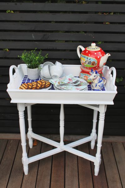 I love trays. All kinds of trays - big, small, round, square, tiered. But one tray I have been wanting to get my hands on was a butler tray. To create some extra table space in our garden. Or as a coffee table. This bargain tray came along for £10 and it now looks stunning as some additional table space in our garden. Check out how you can create your own. #tray #butlertray #traymakeover #traydecor