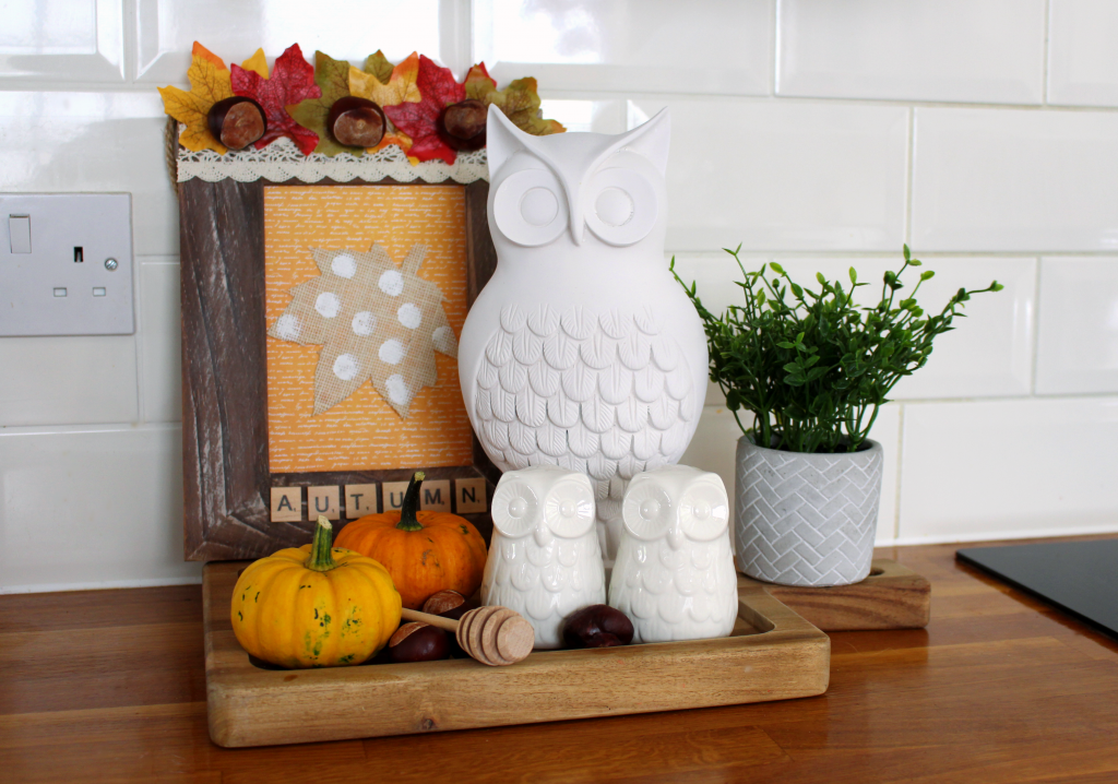 Autumn doesn't have to be all about pumpkins!  I'm a self confessed pumpkin fan, but I also love updating areas in our home for the seasons.  And this picture frame was the perfect addition to our kitchen tray.  Made with some simple craft supplies and some free finds on our walks, this is the perfect budget craft to add some colour to your home.  #budget craft #fall #autumn #autumn kitchen #autumn craft #fall kitchen #budget decor