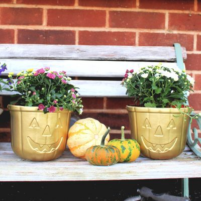 Turn your old Halloween treat buckets into a planter