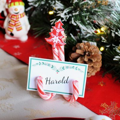 Last minute Christmas Candy Cane place settings