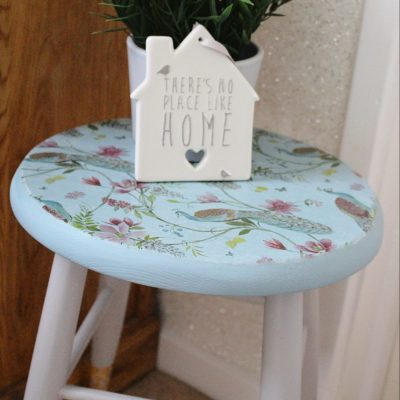 Mini stool make over with a serviette!