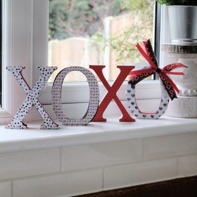 XOXO Mod Podge letter Valentine fun