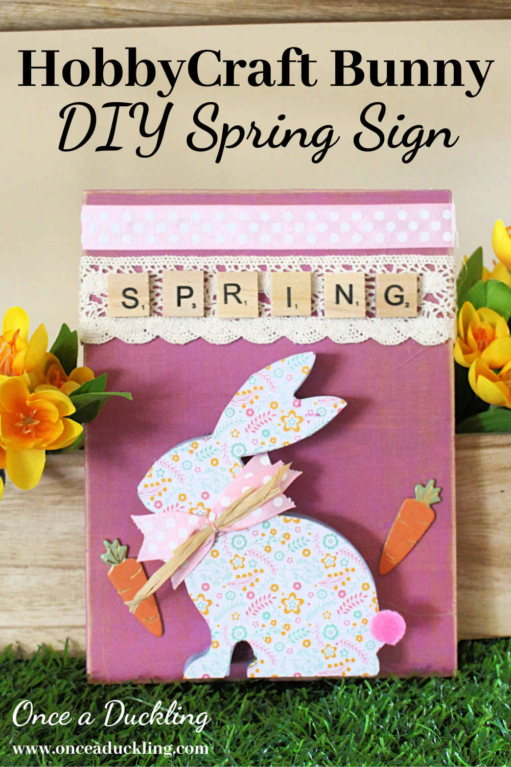 Hobbycraft sitting rabbit to create a cute spring sign