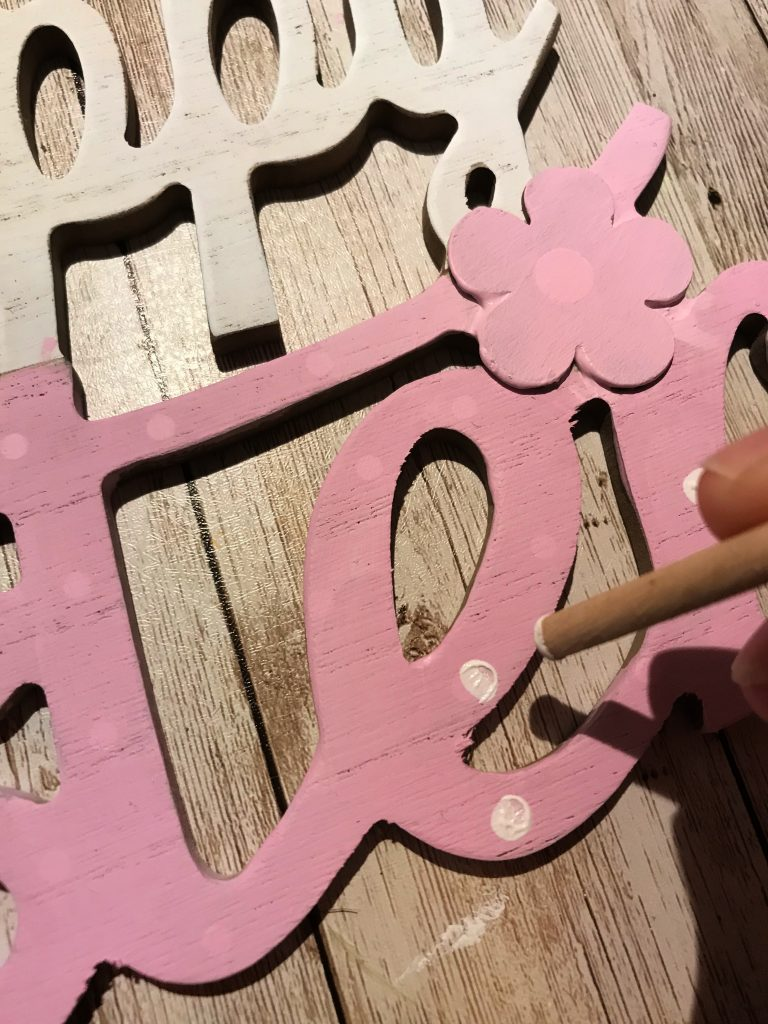 Happy Easter close up sign with polka dots