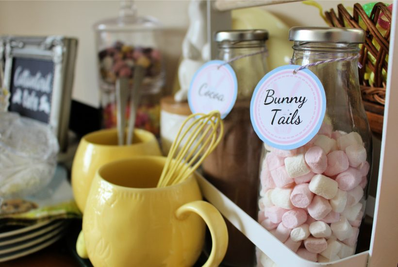 Easter Bunny Bar hot cocoa and coffee | Easter kitchen display | Easter decor