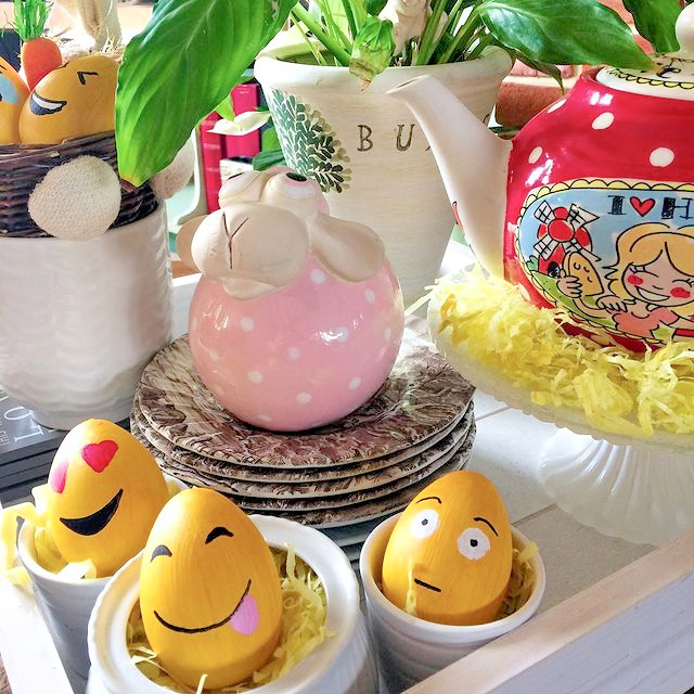 Emoji Easter Eggs DIY painting craft project