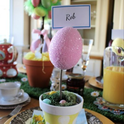 Glitter Easter Egg Place Name Holders