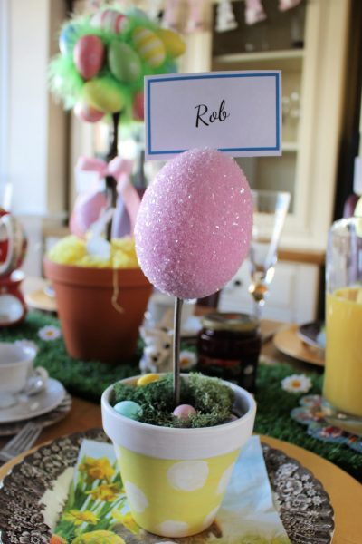 Glitter Easter Egg Place name Holder on Easter breakfast table