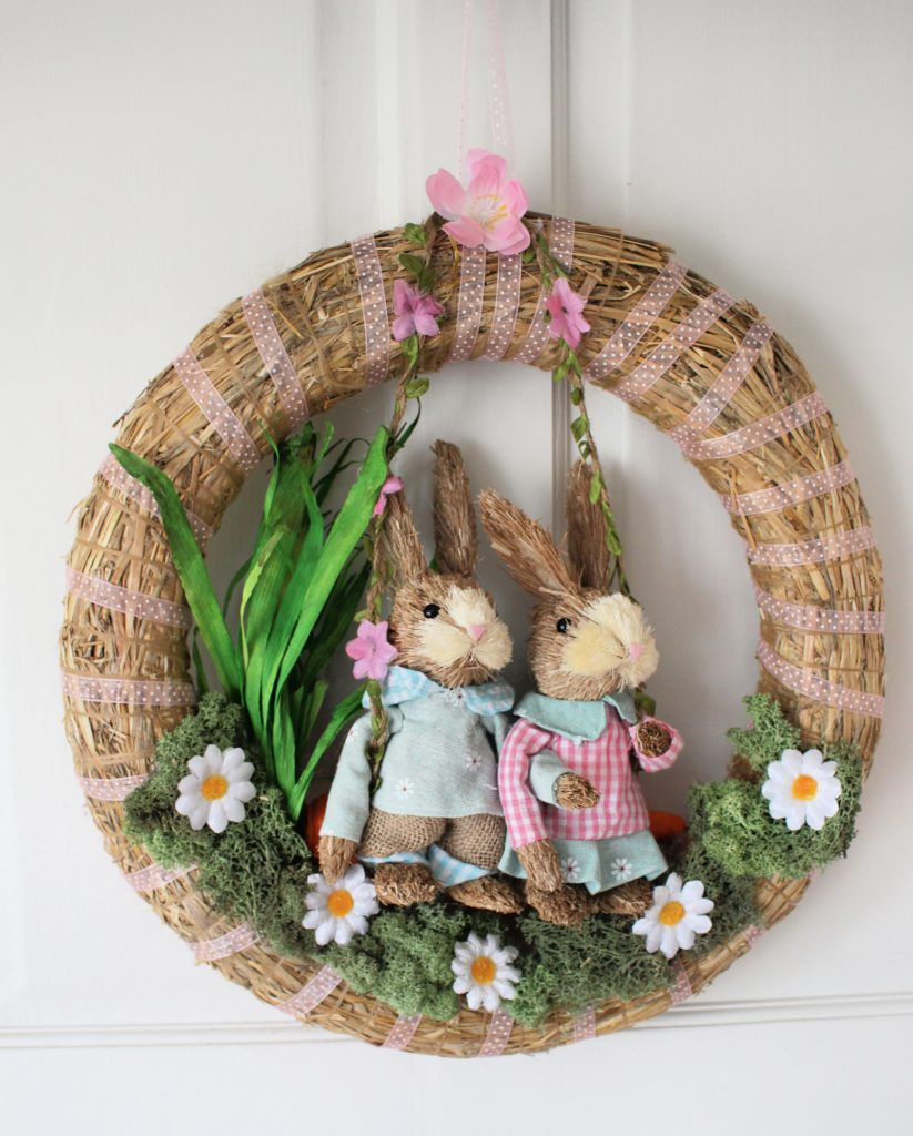 Country Vibe Spring Wreath with bunnies in swing