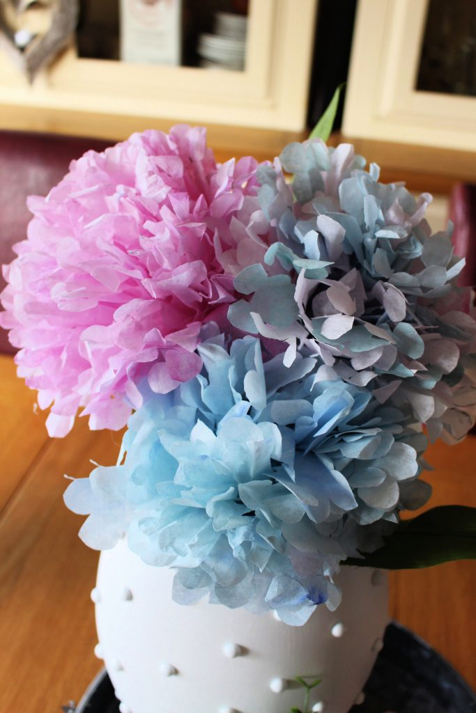 coffee filters turned into hydrangea flowers
