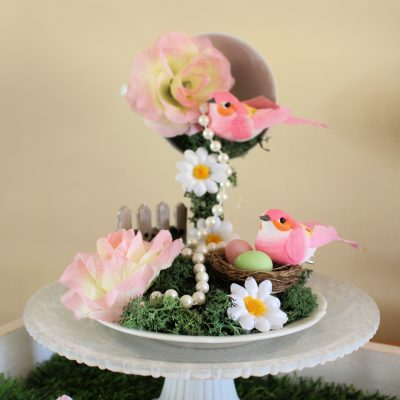 Create a mini garden with a floating tea cup