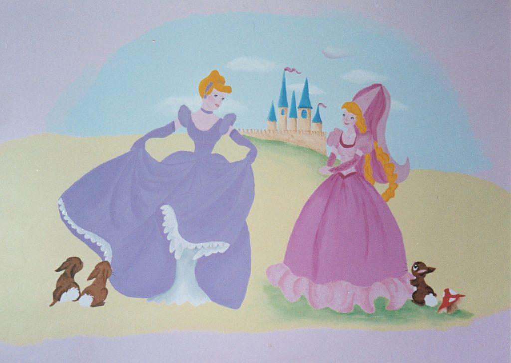Completed Disney Princess mural
