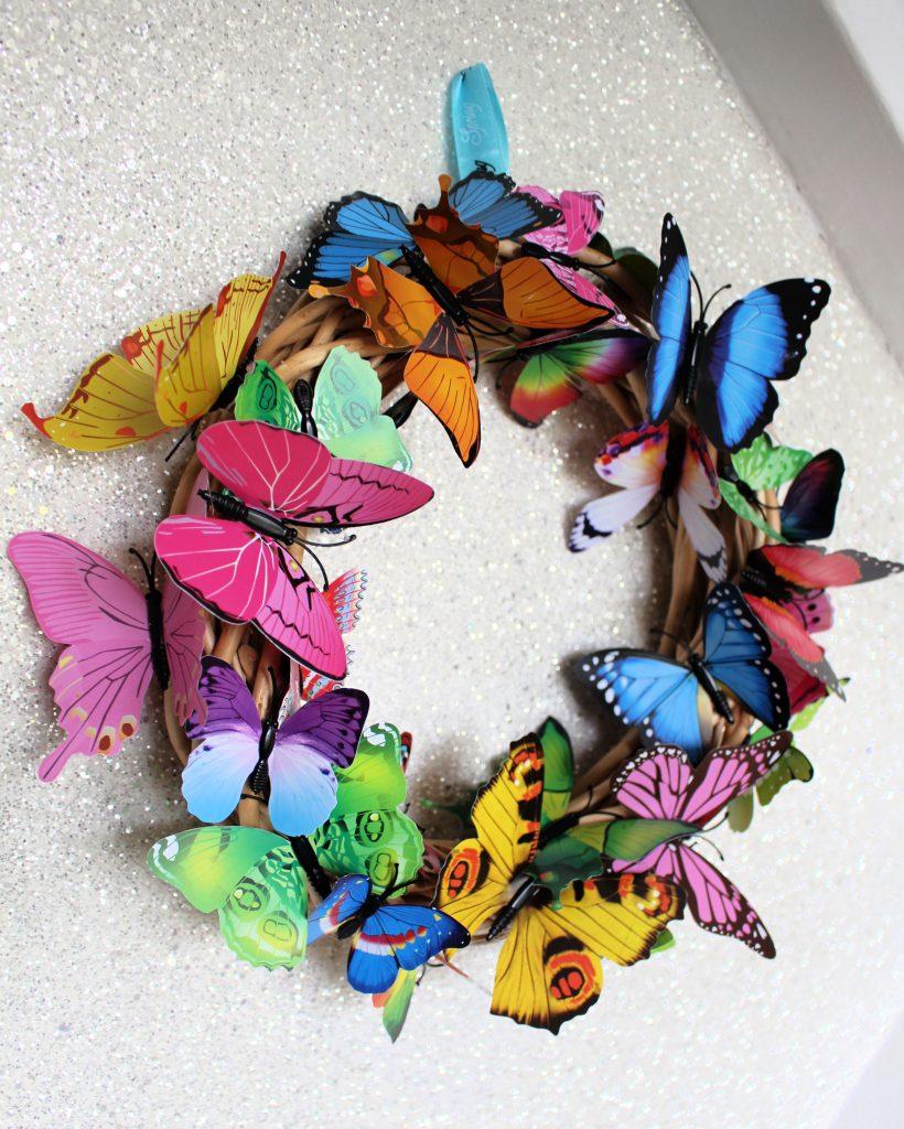 rainbow butterfly wreath craft