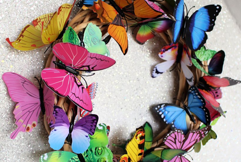 rainbow butterfly wreath craft