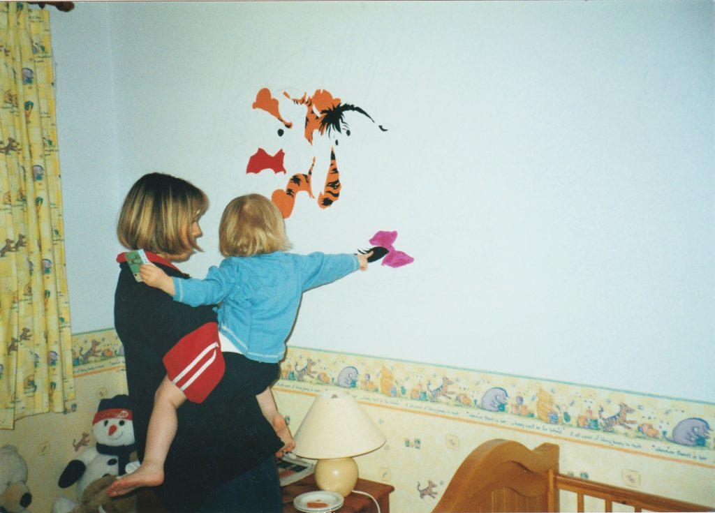progress of winnie the pooh mural
