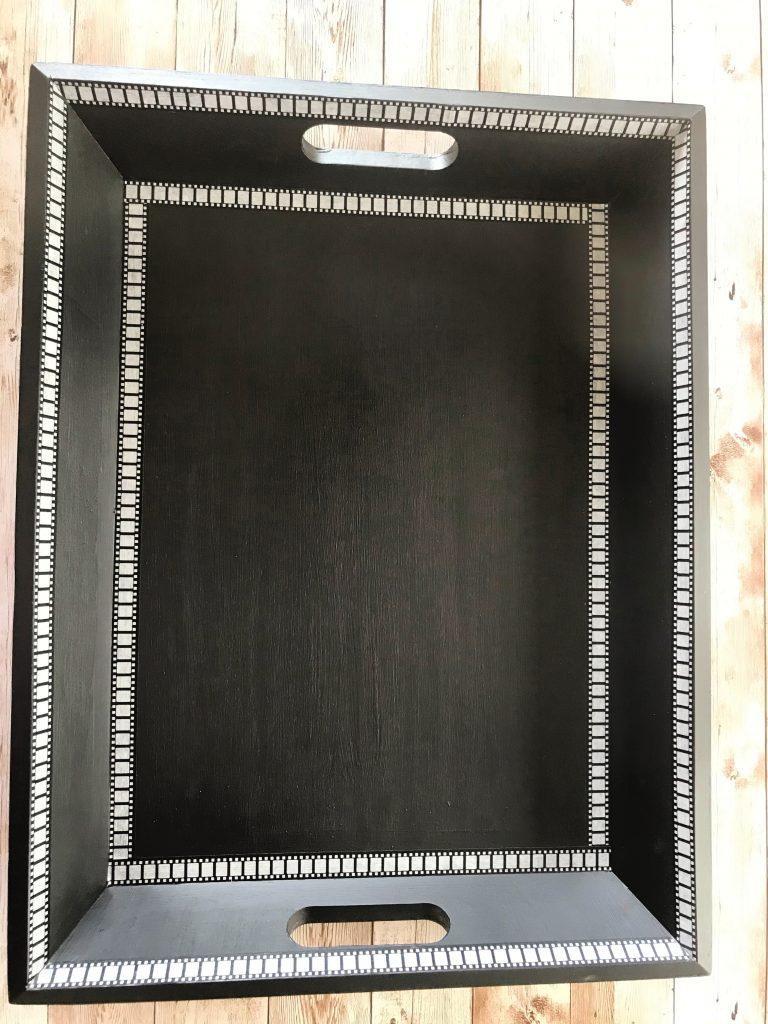 DIY movie tray from an old tea tray