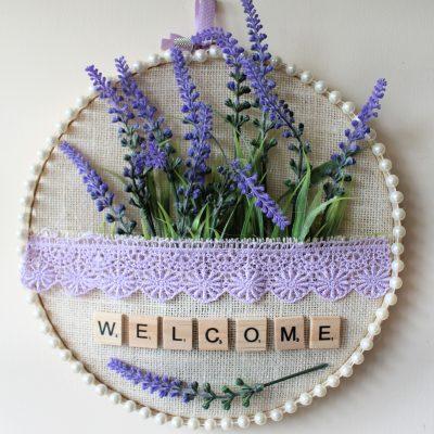Embroidery hoop pocket Lavender sign