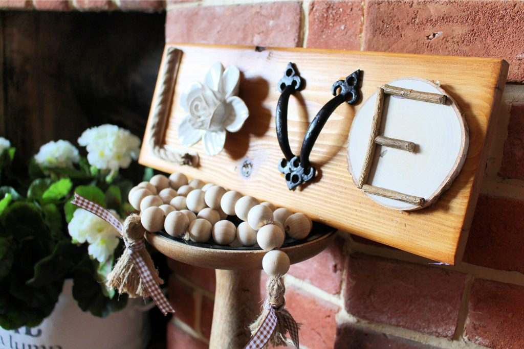 LOVE sign made with random materials