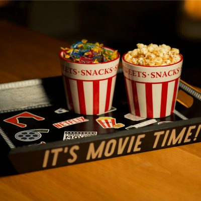 I turned an old tea tray into a fun Movie snack tray!