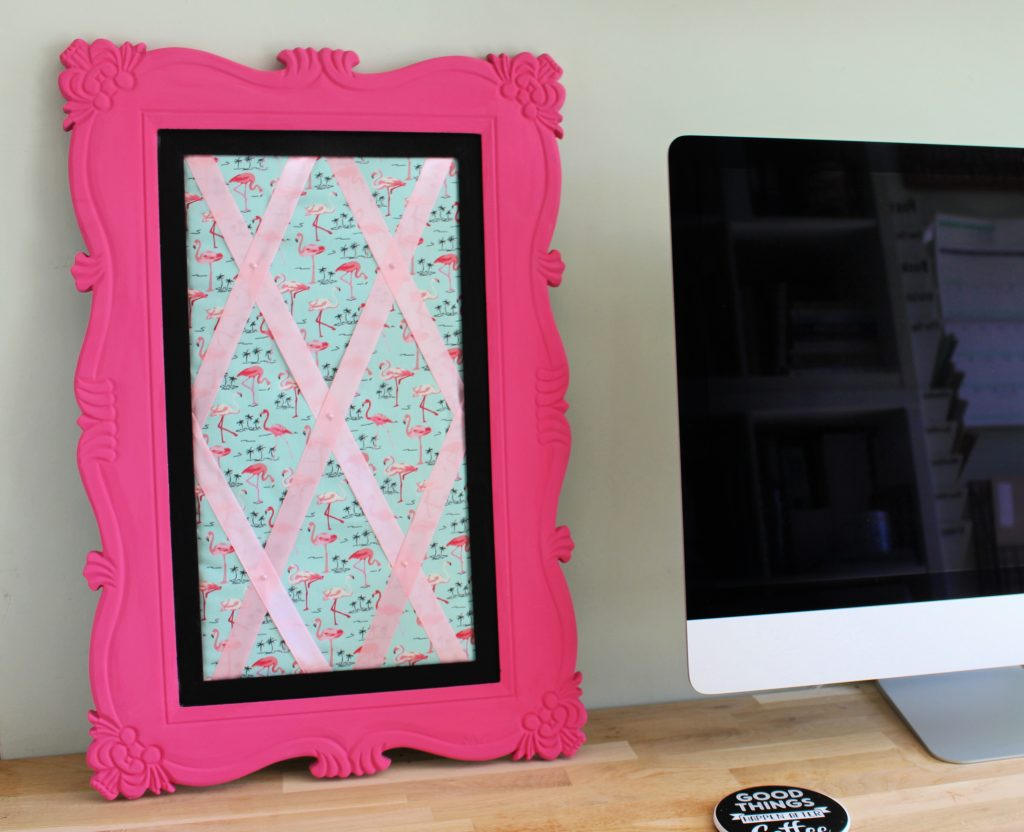 """old mirror turned into """"Perfect in Pink"""" memo board with flamingo fabric"""