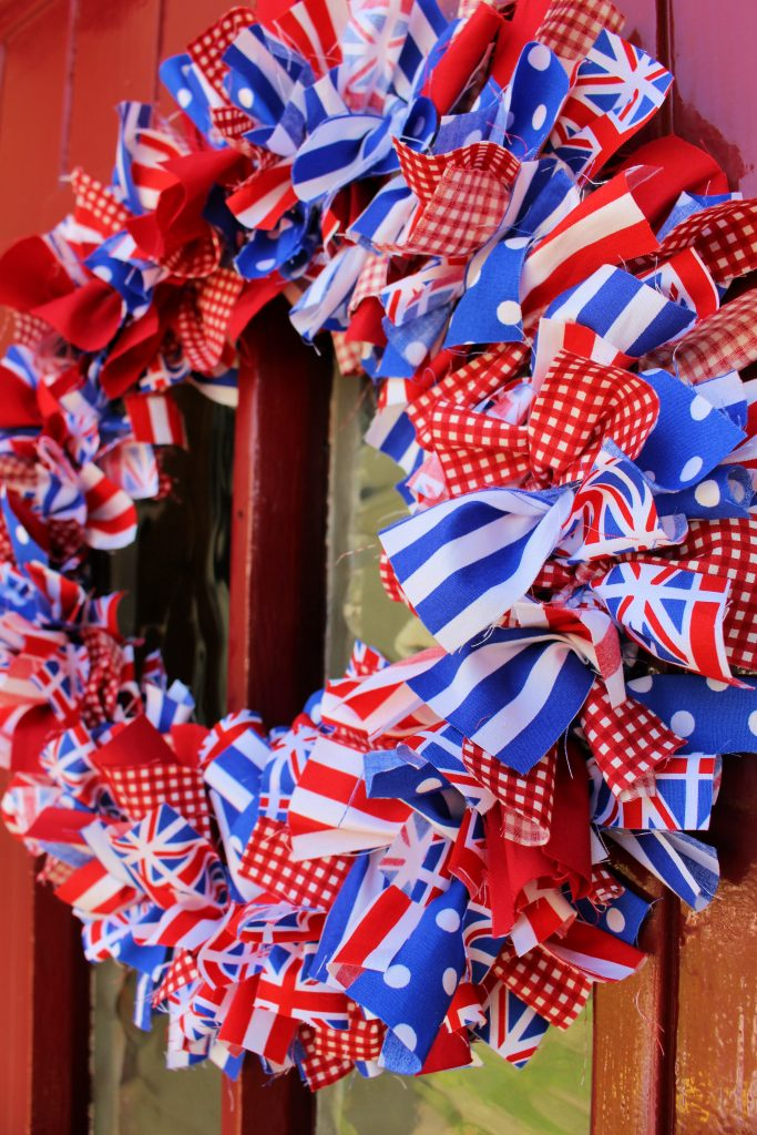 rag wreath made from Union Jack materials