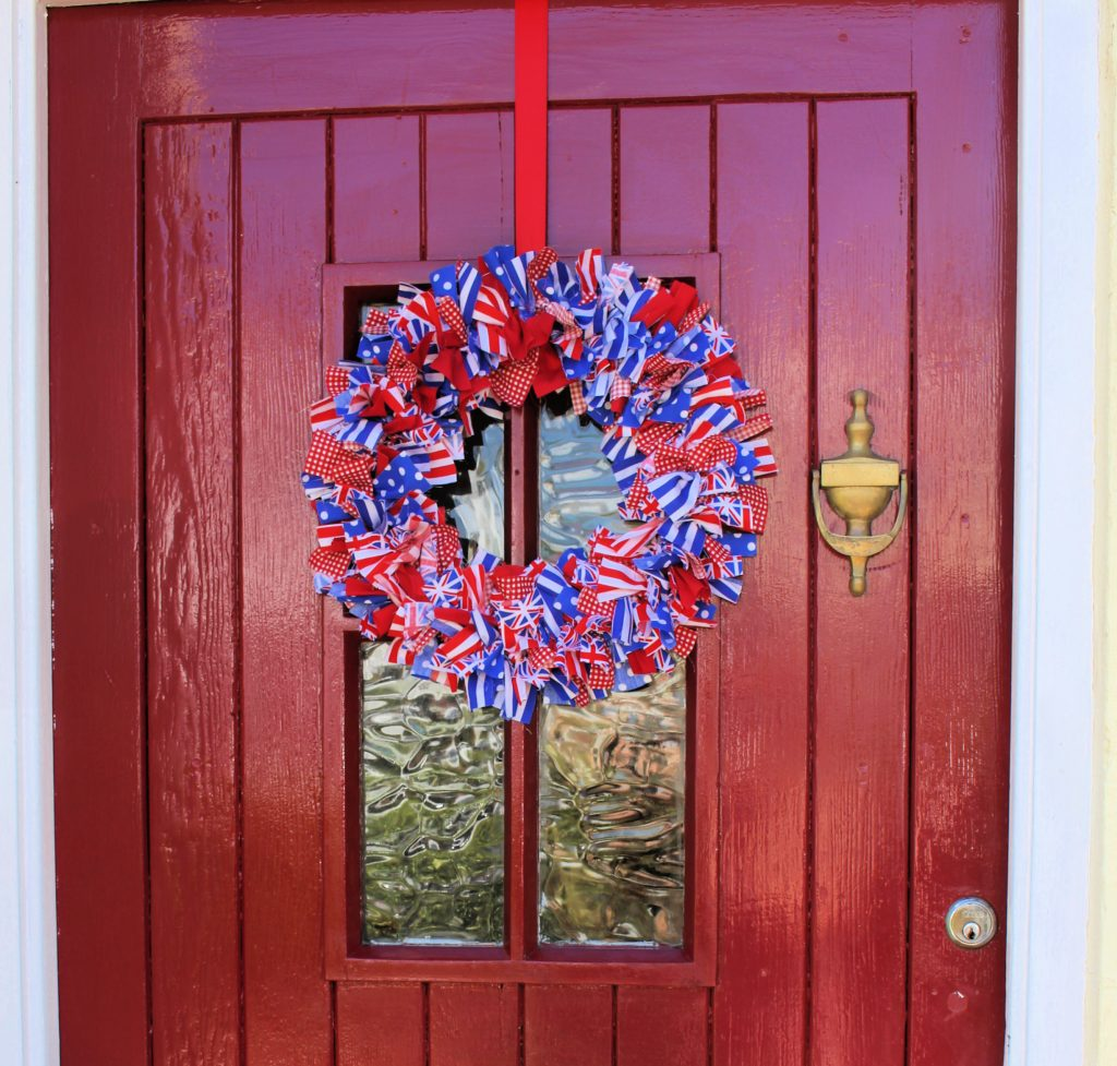 rag wreath on front door made from Union Jack materials