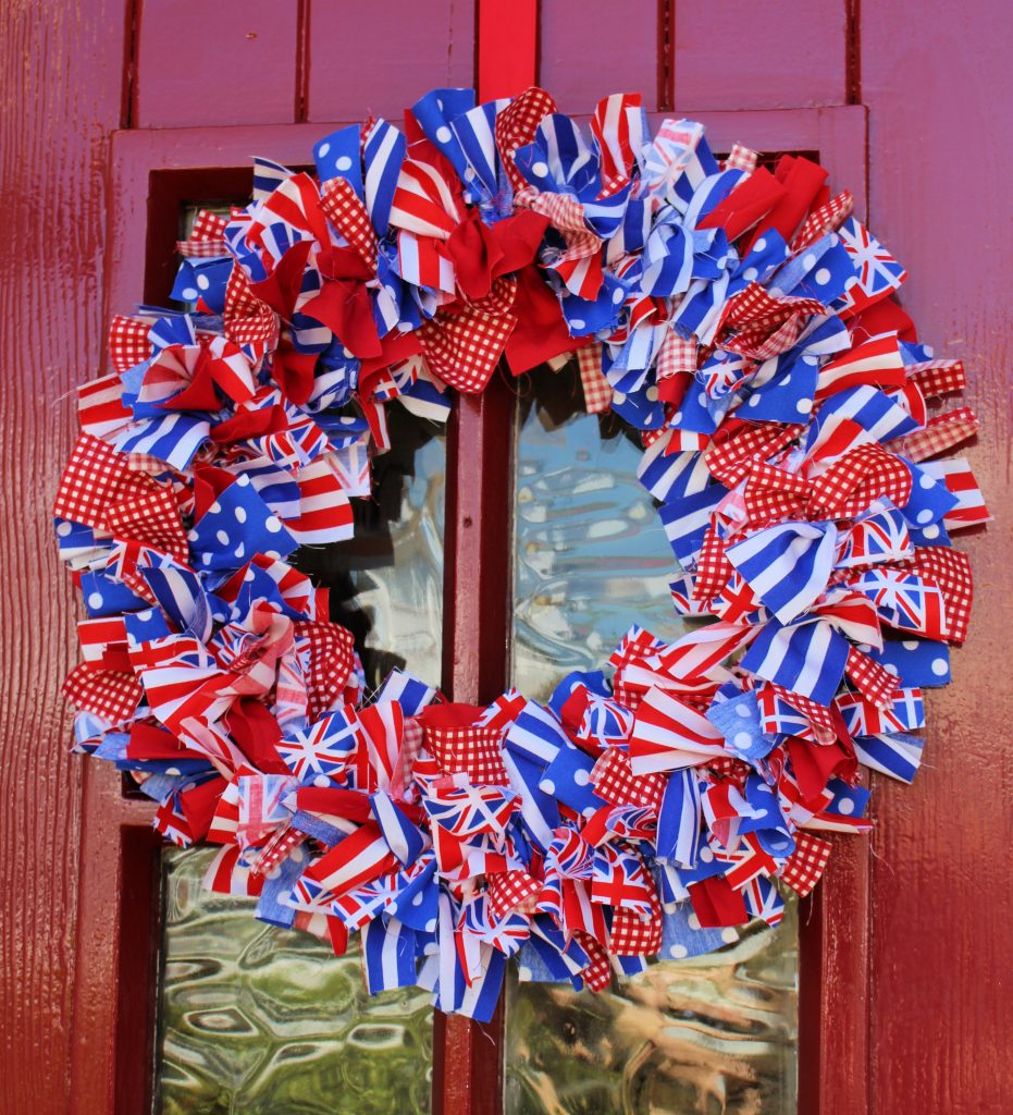 rag wreath made with union jack patriotic colours
