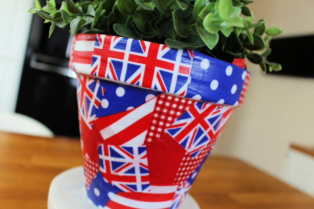 Mod Podge and fabric covered planter
