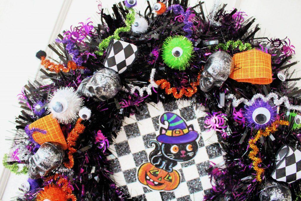 Shop bought Halloween wreath makeover