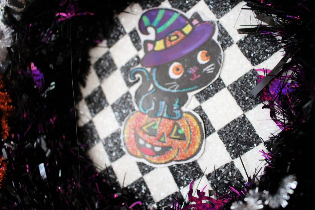Close up of Halloween wreath makeover background