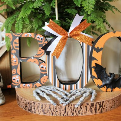 BOO Halloween decoration with MDF letters