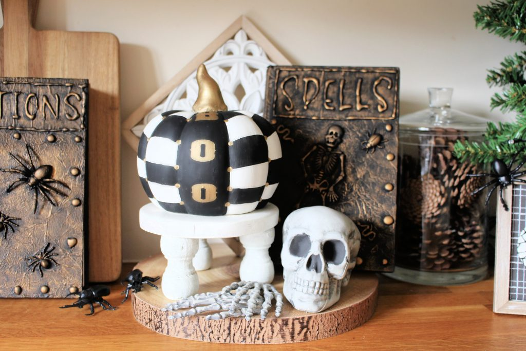 Spooky Halloween display with Halloween spell book