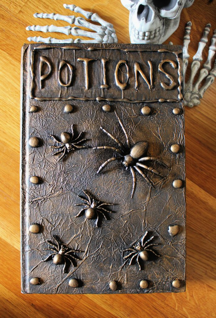 DIY Halloween spell book with spiders